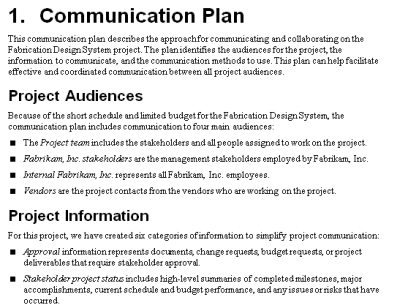 The Project Communication Plan  Mpug