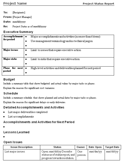 Project Closure Template Project Status Report Template  Project